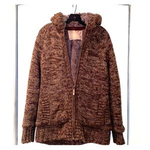 Mens plush lined Sweater/Jacket with Hood